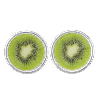 Fresh kiwi fruit. Round slice closeup isolated Cufflinks
