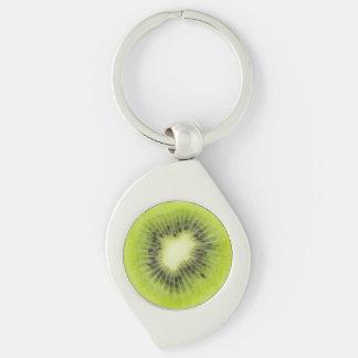 Fresh kiwi fruit. Round slice closeup isolated Keychain