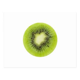 Fresh kiwi fruit. Round slice closeup isolated Postcard