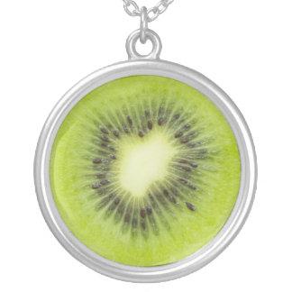 Fresh kiwi fruit. Round slice closeup isolated Silver Plated Necklace
