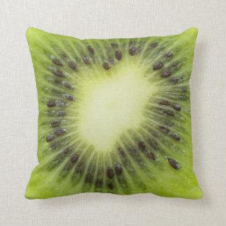 Fresh kiwi fruit. Round slice closeup isolated Throw Pillow