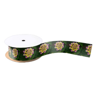 Fresh Lantana Flower Against Leaf Background Satin Ribbon