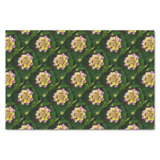 Fresh Lantana Flower Against Leaf Background Tissue Paper