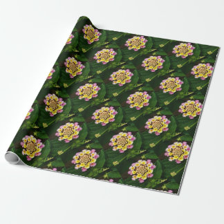 Fresh Lantana Flower Against Leaf Background Wrapping Paper