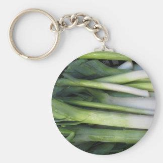 Fresh leeks basic round button keychain