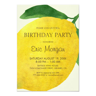 Fresh Lemon Birthday Invitation Card