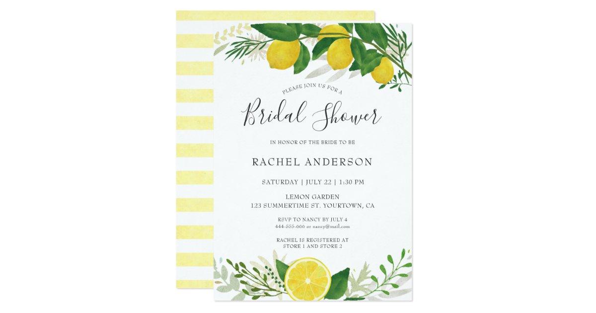 Fresh Lemon Bridal Shower Invitation Card 02 | Zazzle.ca