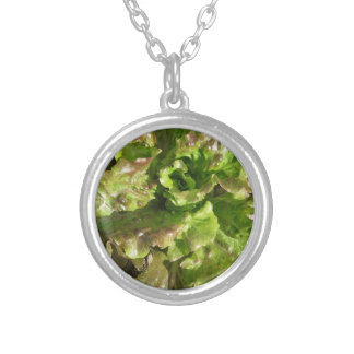 Fresh lettuce growing in the field. Tuscany, Italy Silver Plated Necklace