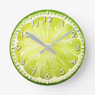Fresh Lime Slice S01 Round Clock