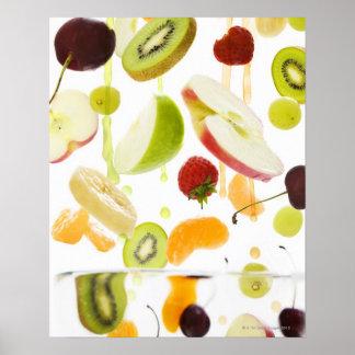 Fresh mixed fruit with apple & orange juice poster