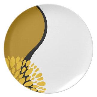 Fresh Modern golden yellow black white Yin Yang Party Plate