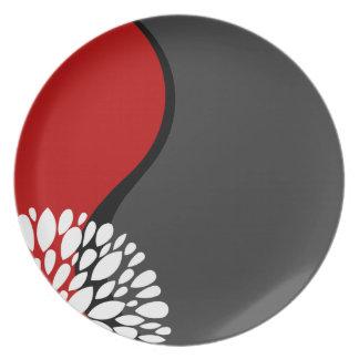 Fresh Modern red black white charcoal Yin Yang Plates