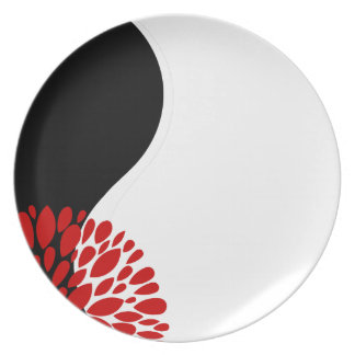 Fresh Modern red black white Yin Yang Dinner Plate
