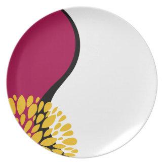 Fresh Modern red black white Yin Yang Dinner Plates