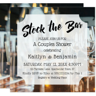 Fresh & Modern Stock the Bar Couples Shower Card