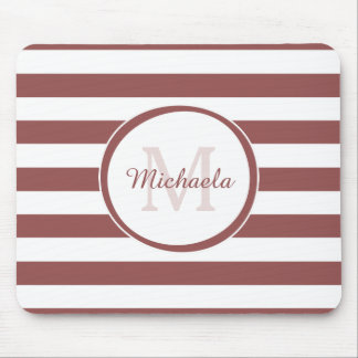 Fresh Monogrammed Name Chunky Soft Red Stripes Mouse Pad