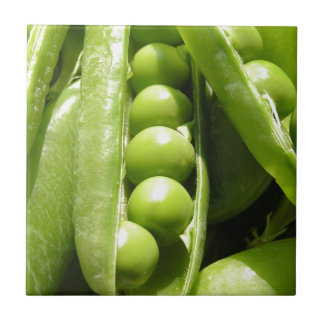 Fresh open green pea pods in sunlight tile