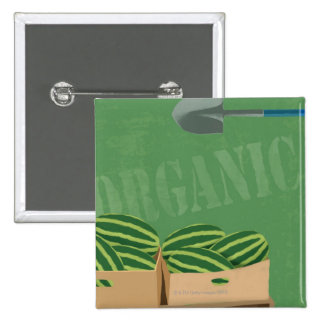 Fresh Organic Melons 2 Inch Square Button