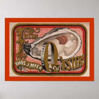 Fresh Oyster Label Art Poster