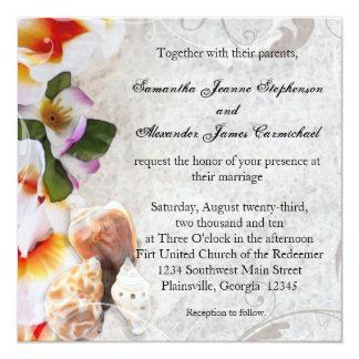 Fresh Plumeria Orchid Lei Beach Wedding Invitation