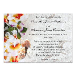 Fresh Plumeria Orchid Lei Beach Wedding Invitation