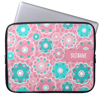 Fresh pretty pink and aqua floral laptop sleeve