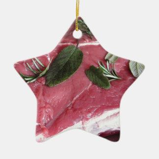 Fresh raw marbled meat steak ceramic ornament