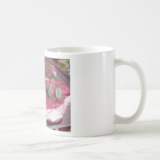 Fresh raw marbled meat steak coffee mug
