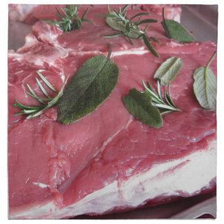 Fresh raw marbled meat steak napkin