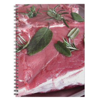 Fresh raw marbled meat steak notebook