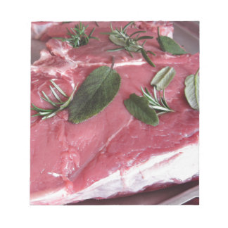 Fresh raw marbled meat steak notepads