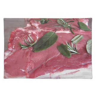 Fresh raw marbled meat steak placemat