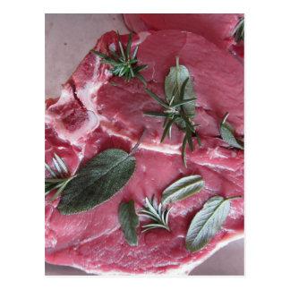 Fresh raw marbled meat steak postcard