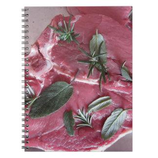 Fresh raw marbled meat steak spiral notebook