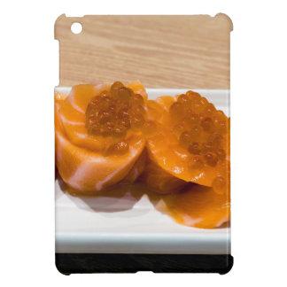 Fresh raw Salmon fish Sushi roll with Salmon Roe iPad Mini Cover