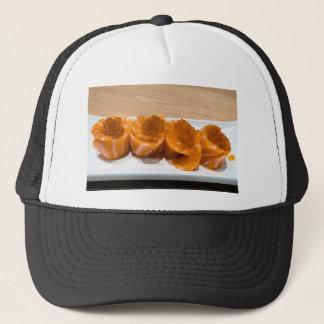 Fresh raw Salmon fish Sushi roll with Salmon Roe Trucker Hat