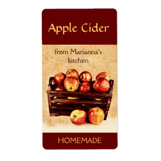 Fresh red apples in a basket apple cider shipping label