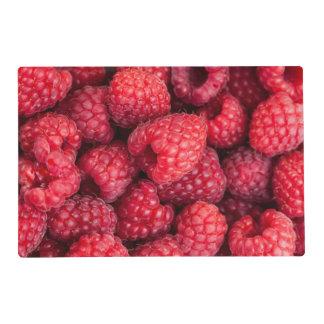 Fresh red raspberries laminated place mat