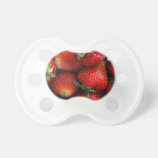 Fresh red strawberry fruits pacifier