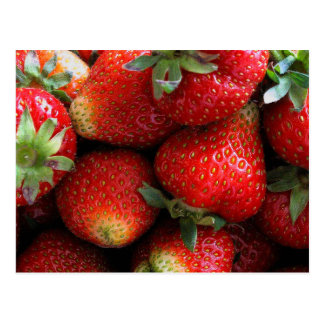 Fresh red strawberry fruits postcard