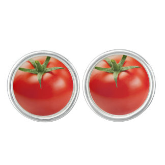 Fresh Red Tomato Isolated On White Background Cuff Links