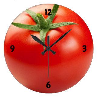Fresh Red Tomato Isolated On White Background Large Clock
