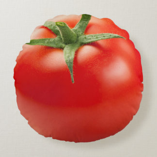 Fresh Red Tomato Isolated On White Background Round Pillow