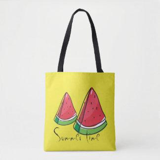 Fresh red watermelon, personalised summer tote bag