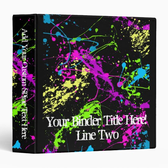 Fresh Retro Neon Paint Splatter on Black 3 Ring Binders