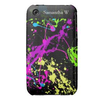 Fresh Retro Neon Paint Splatter on Black iPhone 3 Case-Mate Case