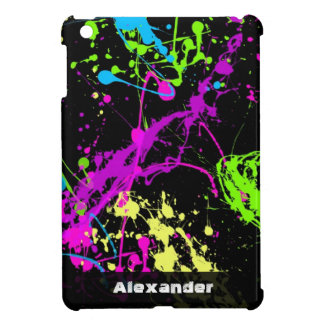 Fresh Retro Neon Paint Splatter on Black iPad Mini Covers