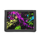 Fresh Retro Neon Paint Splatter Tri-fold Wallet