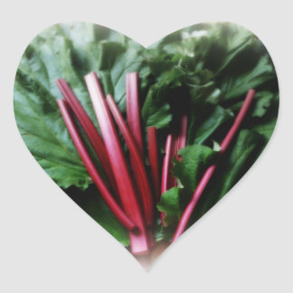 Fresh Rhubarb Stalks and Leaves Heart Sticker