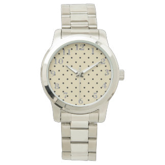 Fresh-Round-Face- Cream & Black-Polka-Dots-Silver Watch